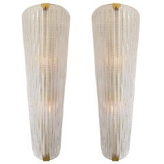 Grand Pair of Murano Glass Wall Sconces by Barovier