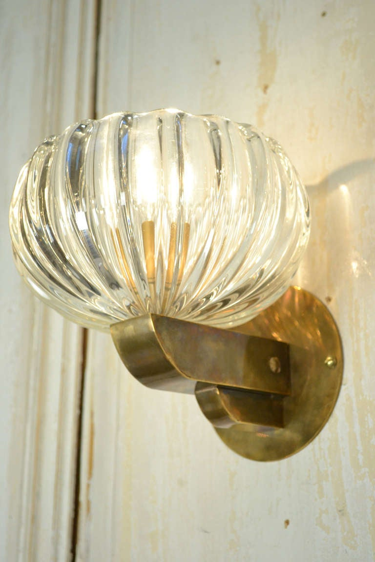 Vintage Murano Glass and Brass Sconces at 1stdibs