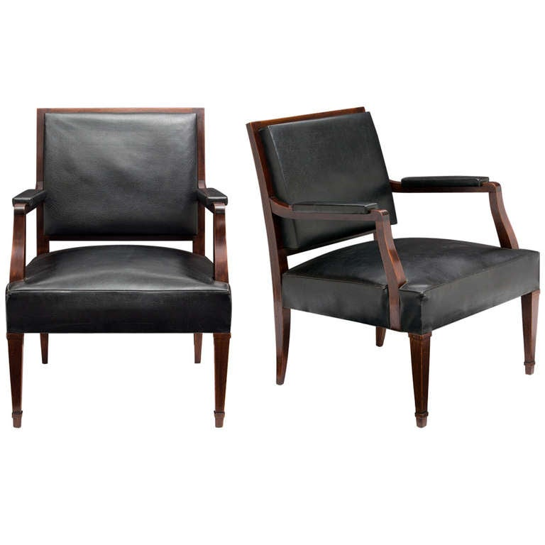 French Vintage Pair of Armchairs in the Manner of Jacques Adnet 1
