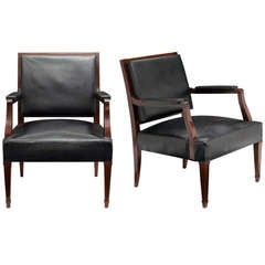 French Vintage Pair of Armchairs in the Manner of Jacques Adnet