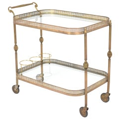 French Vintage Brass Bar Cart