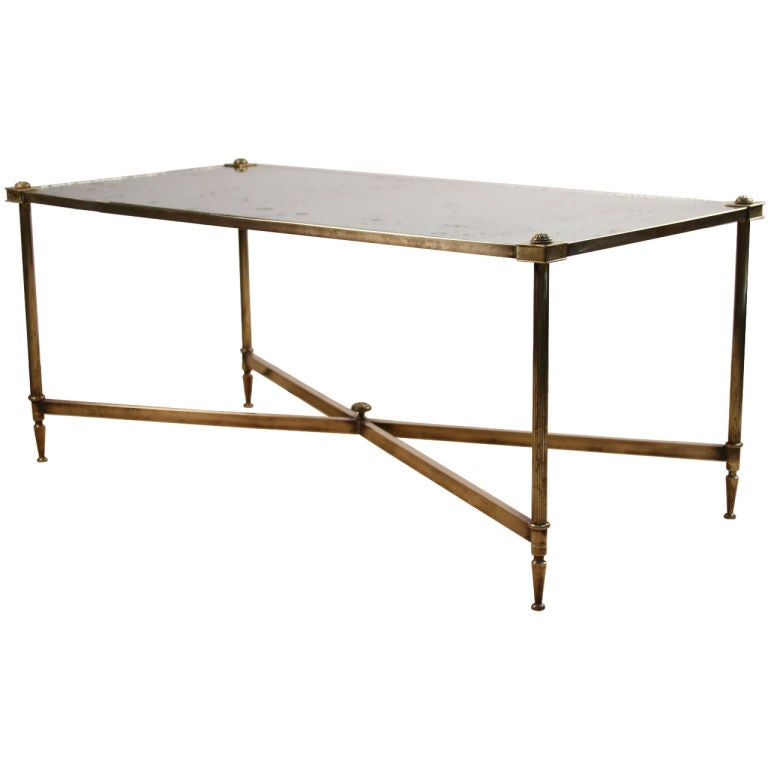 French Art Deco Period Brass And Glass Coffee Table At 1stdibs