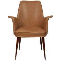 French Vintage Jacques Adnet style  Lambskin Leather Armchair