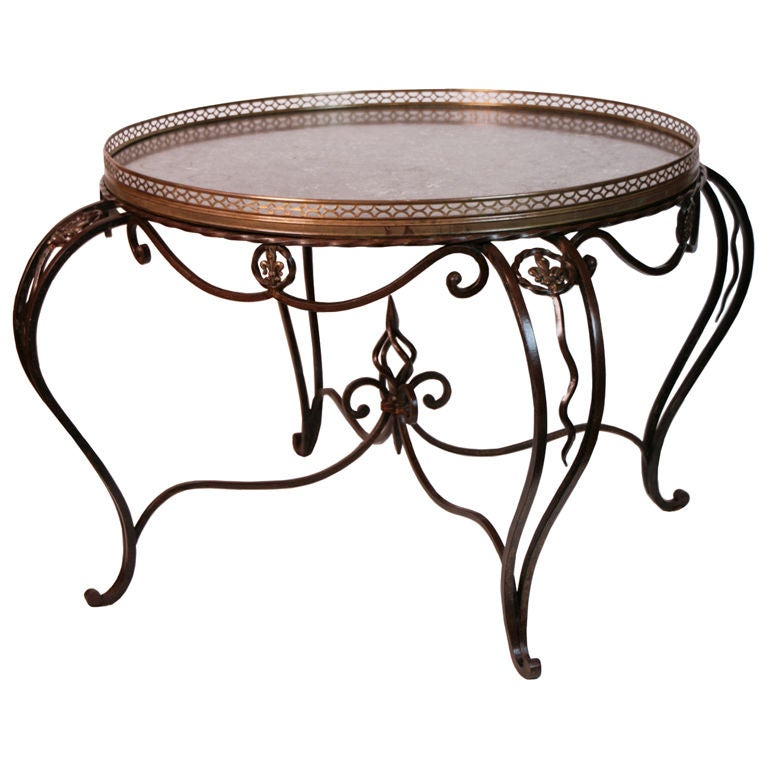 French forged iron and marble coffee table at stdibs