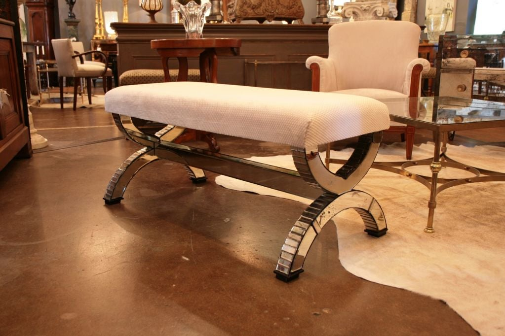 French Art Deco Period Mirrored Bench At 1stdibs