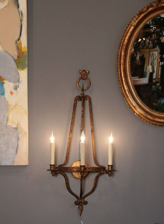 Spanish Iron Wall Sconces : Spanish Vintage Gold Leafed Iron Sconce at 1stdibs