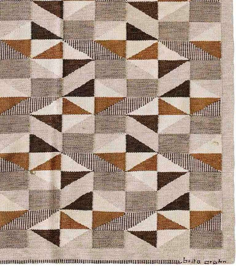 Mid 20th Century Modern Scandinavian Area Rug At 1stdibs: Vintage Swedish Kilim For Sale At 1stdibs