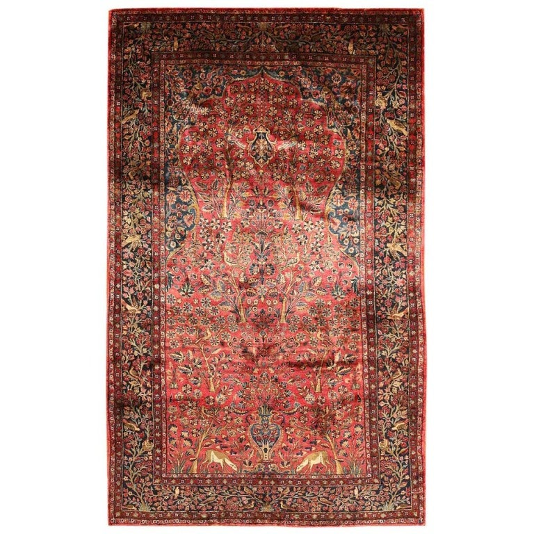 Antique Silk Kashan Persian Rug For