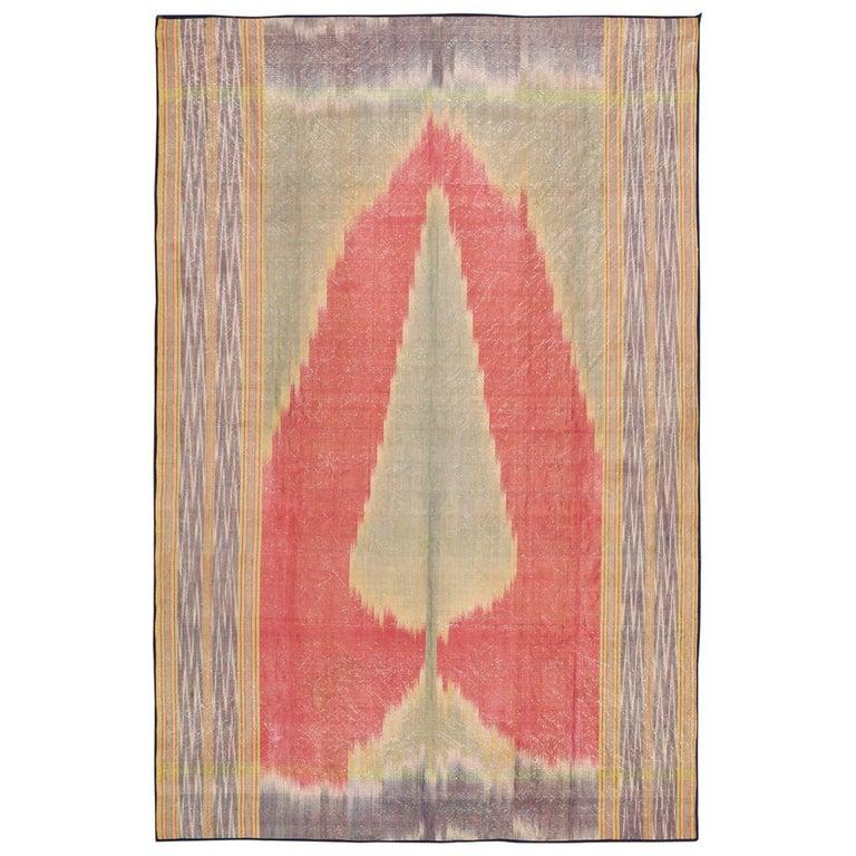 Antique Silk Uzbek Ikat Textile Embroidery For Sale
