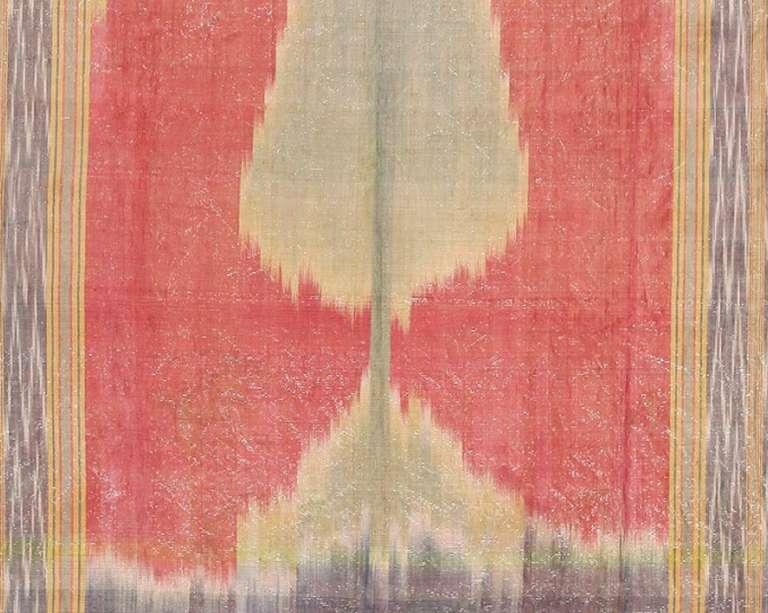 20th Century Antique Silk Uzbek Ikat Textile Embroidery For Sale
