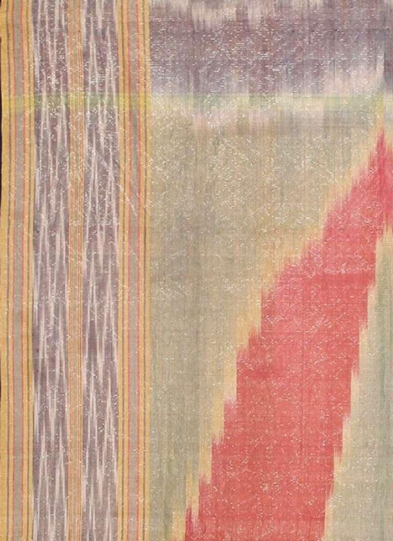 Antique Silk Uzbek Ikat Textile Embroidery For Sale 1