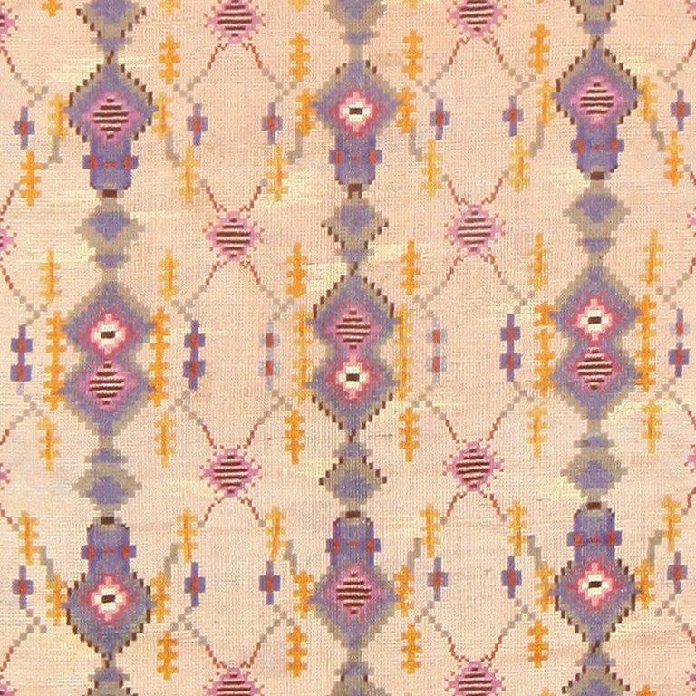 Wool Beautiful Vintage Scandinavian Carpet