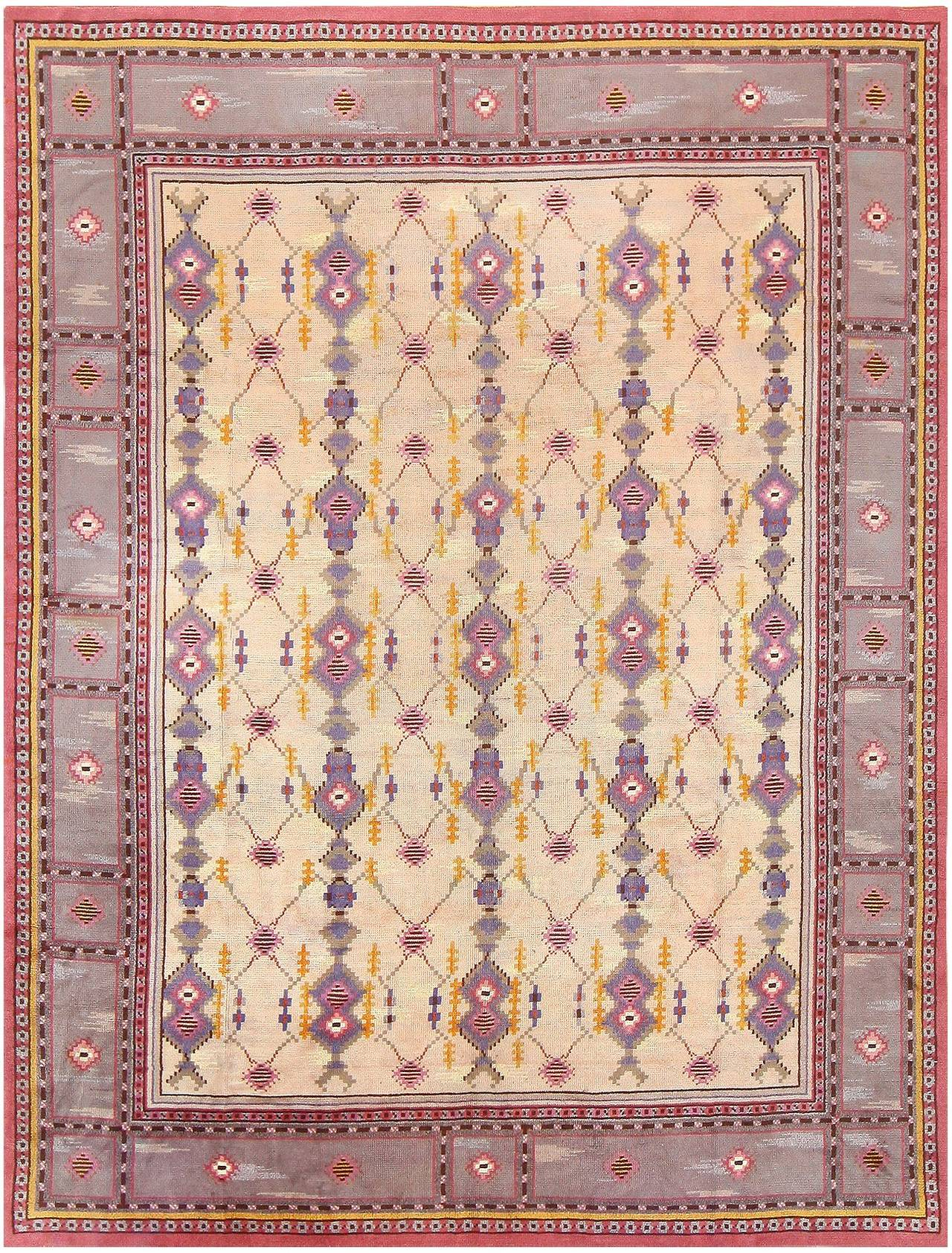 Vintage Scandinavian carpet, origin: Scandinavia, circa mid-20th century. Here is a delightful and exciting vintage carpet, a vintage Scandinavian carpet that was woven in Sweden during the middle years of the 20th century. A truly unique Swedish