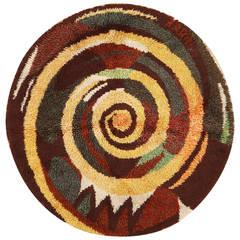 Vintage Round Swedish Rya Rug
