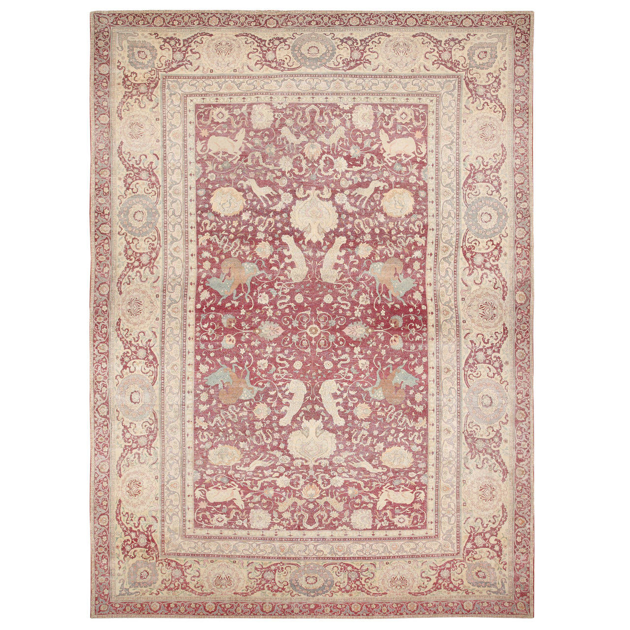Elegant Antique Oversized Turkish Hereke Rug