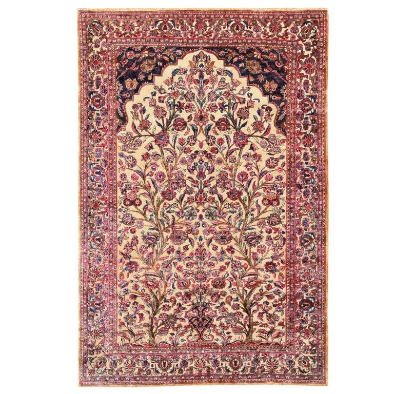 Antique Silk Persian Souf Kashan Prayer Carpet At 1stdibs