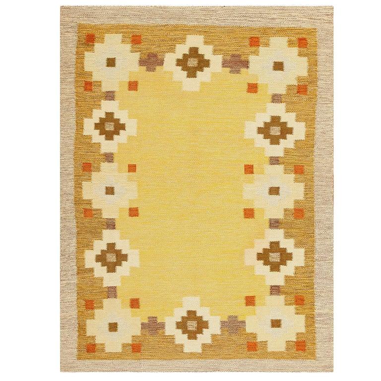 Scandinavian Swedish Kilim Carpet For Sale