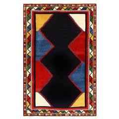 Colorblocked Vintage Persian Ghashgai Rug