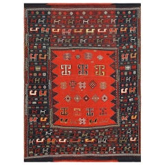 Wonderful Antique Caucasian Shahsavan Tribal Rug. Size: 5 ft 2 in x 6 ft 4 in
