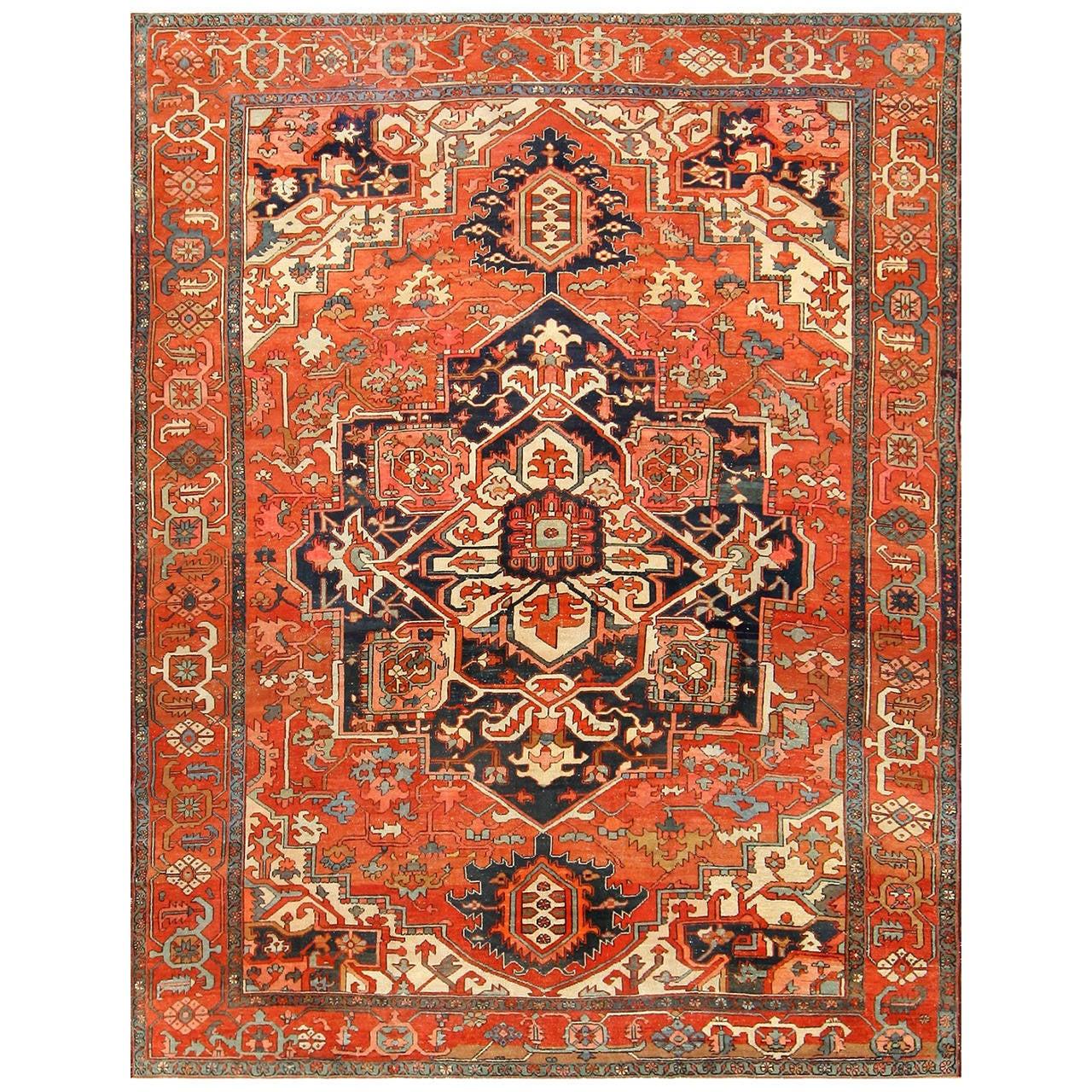 Beautiful Antique Persian Serapi Rug At 1stdibs