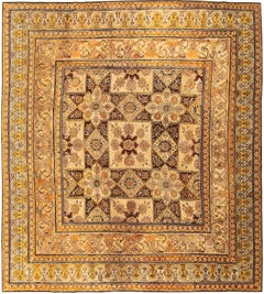 Antique Indian Agra Rug. Size: 8 ft 8 in x 9 ft 8 in (2.64 m x 2.95 m)