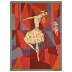 "Vintage Scandinavian ""the Dance"" Tapestry by Lars Gynning for P.F Aubusson 48258"
