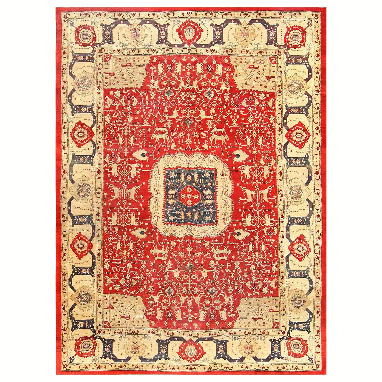 Gorgeous Red Antique Indian Agra Rug At 1stdibs
