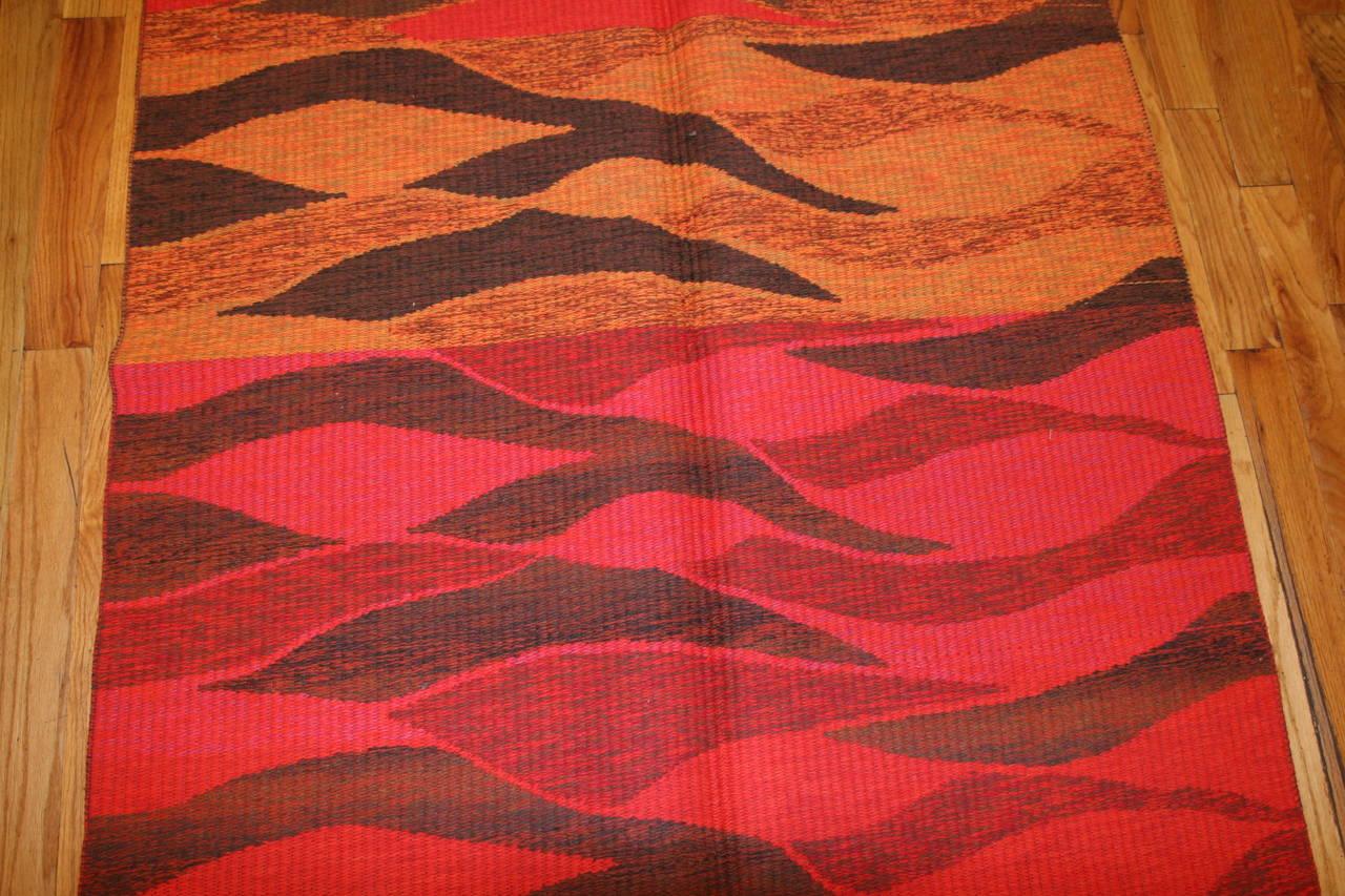 Wool Vintage Double-Sided Swedish Kilim Carpet. Size: 5 ft x 6 ft (1.52 m x 1.83 m) For Sale