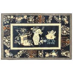 Beautiful Navy Blue Antique Khotan Rug