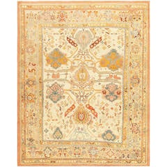 Gorgeous Ivory Background Large-Scale Antique Turkish Oushak Rug