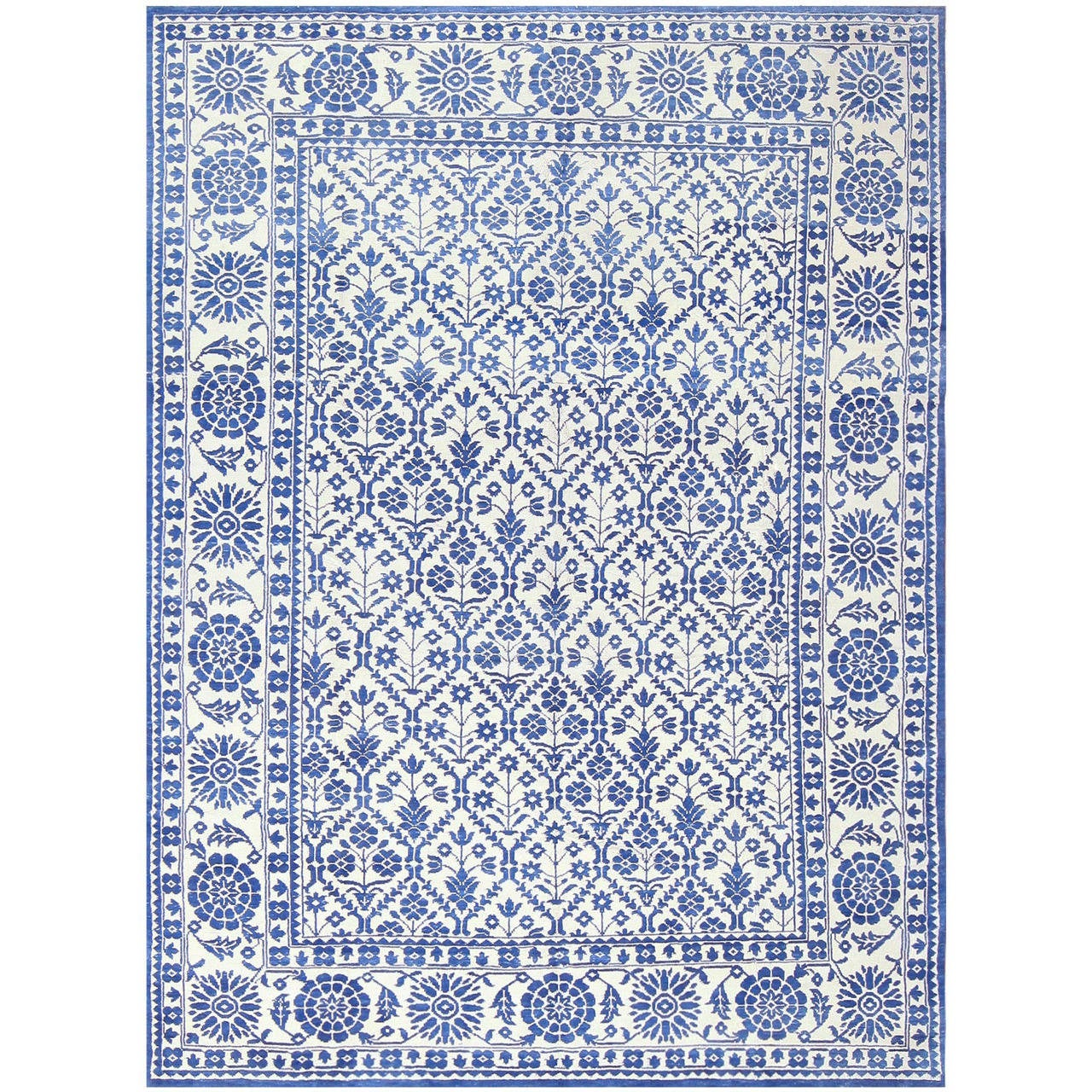 British India Rug: Gorgeous Blue Vintage Indian Agra Cotton Rug At 1stdibs