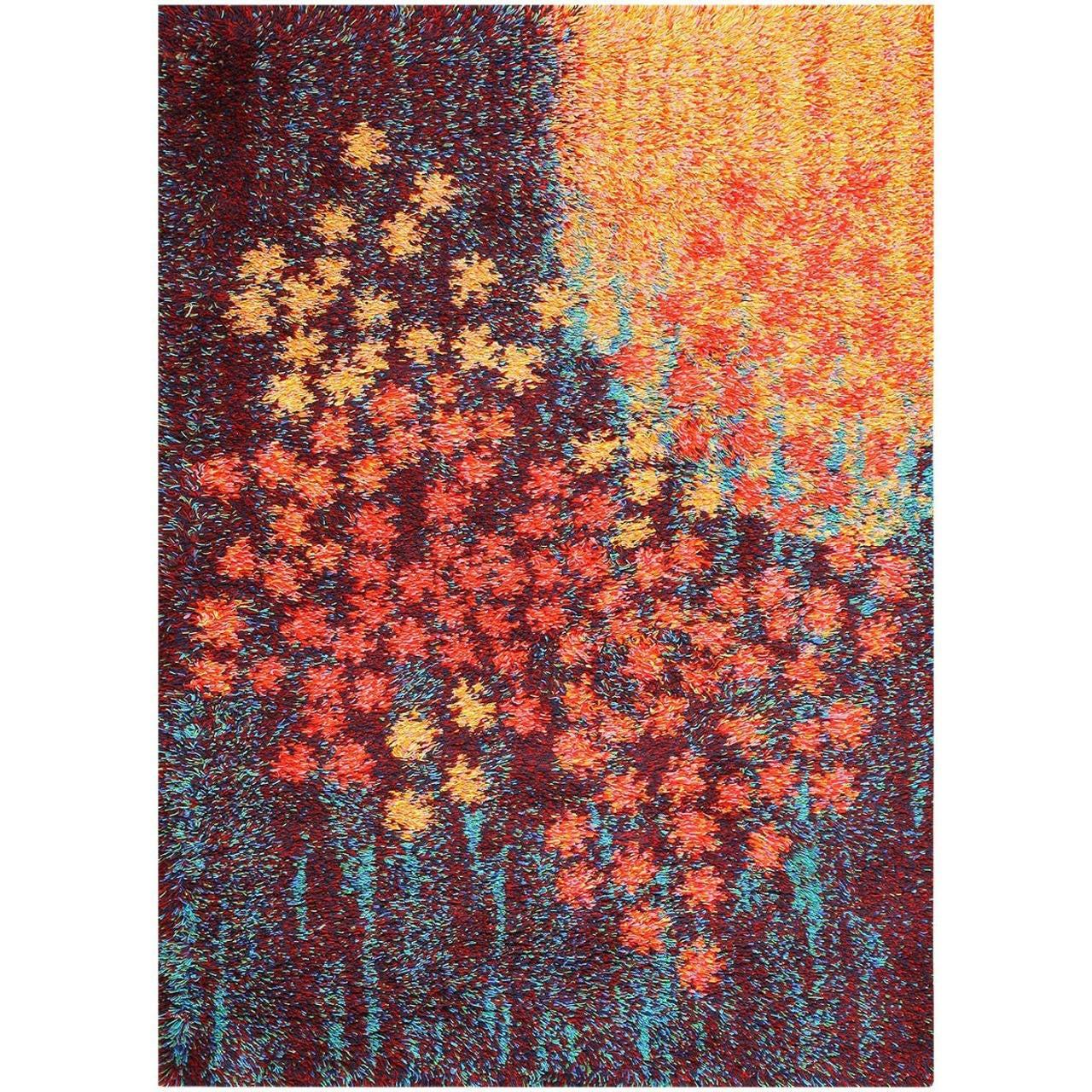 Lovely Vintage Scandinavian Rya Rug Inspired By Monet At