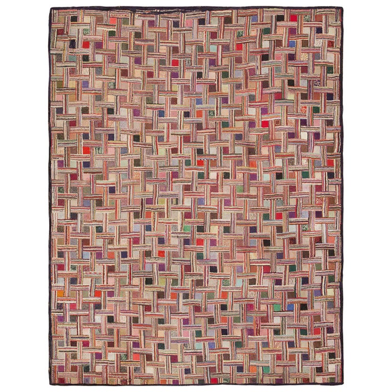 Early American Hooked Rug For Sale