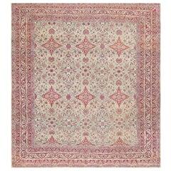 Fine Square Antique Persian Kerman Lavar Rug