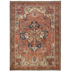 Antique Heriz Serapi Persian Rug