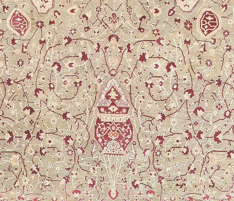Indian Antique Agra Carpet India. Size: 10 ft x 19 ft 4 in (3.05 m x 5.89 m) For Sale