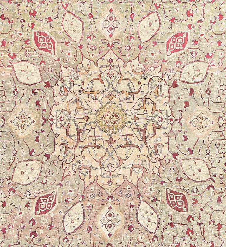 Hand-Knotted Antique Agra Carpet India. Size: 10 ft x 19 ft 4 in (3.05 m x 5.89 m) For Sale