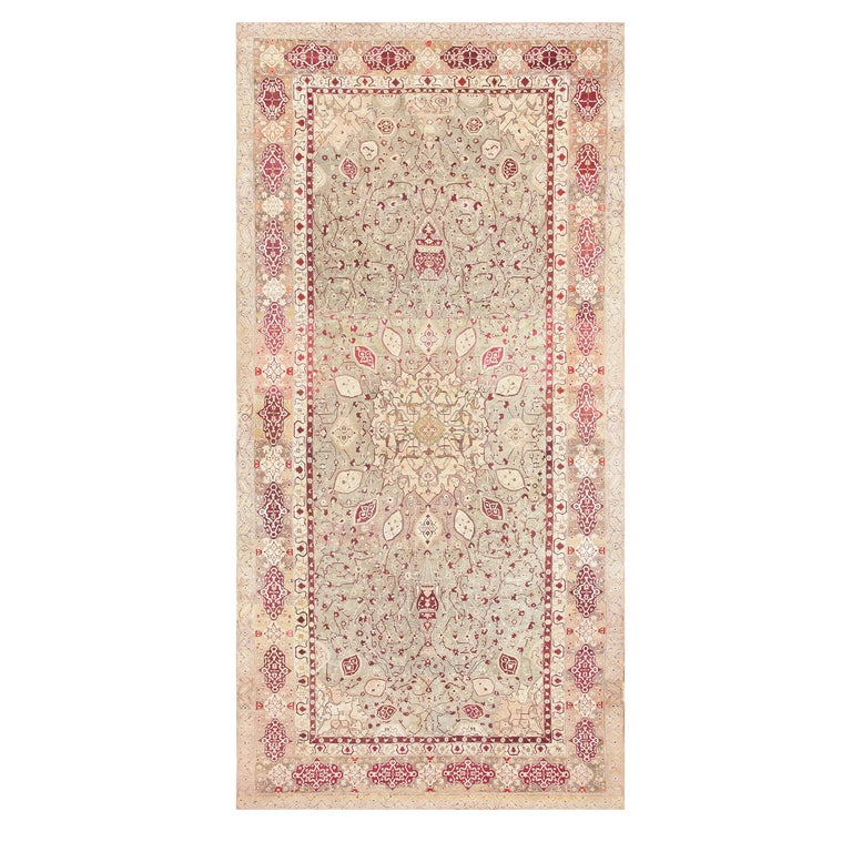 Antique Agra Carpet India. Size: 10 ft x 19 ft 4 in (3.05 m x 5.89 m) For Sale