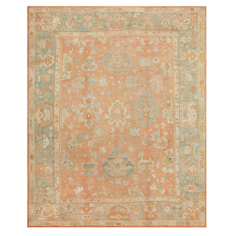 Antique Turkish Oushak Rug For Sale