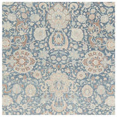 Large Scale All Over Design Light Blue Persian Kerman Carpet