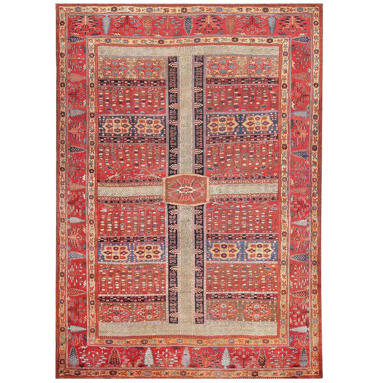 Large Antique Persian Bakshaish Garden Design Carpet For Sale