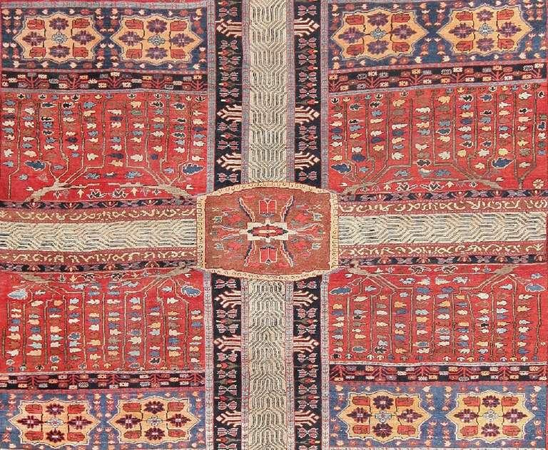 Hand-Knotted Large Antique Persian Bakshaish Garden Design Carpet For Sale