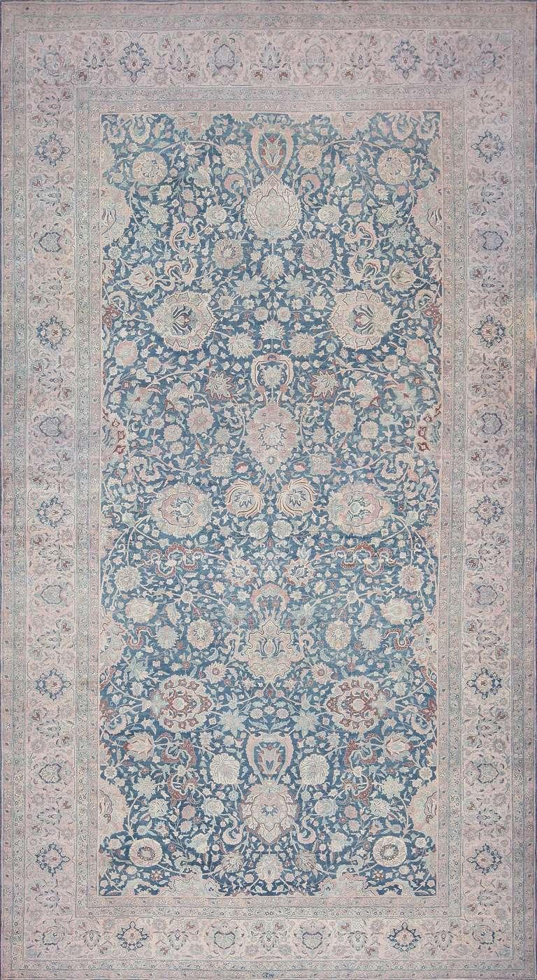 Large Scale All Over Design Light Blue Persian Kerman