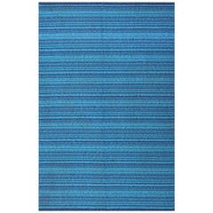 Vintage Double Sided Blue Swedish Kilim