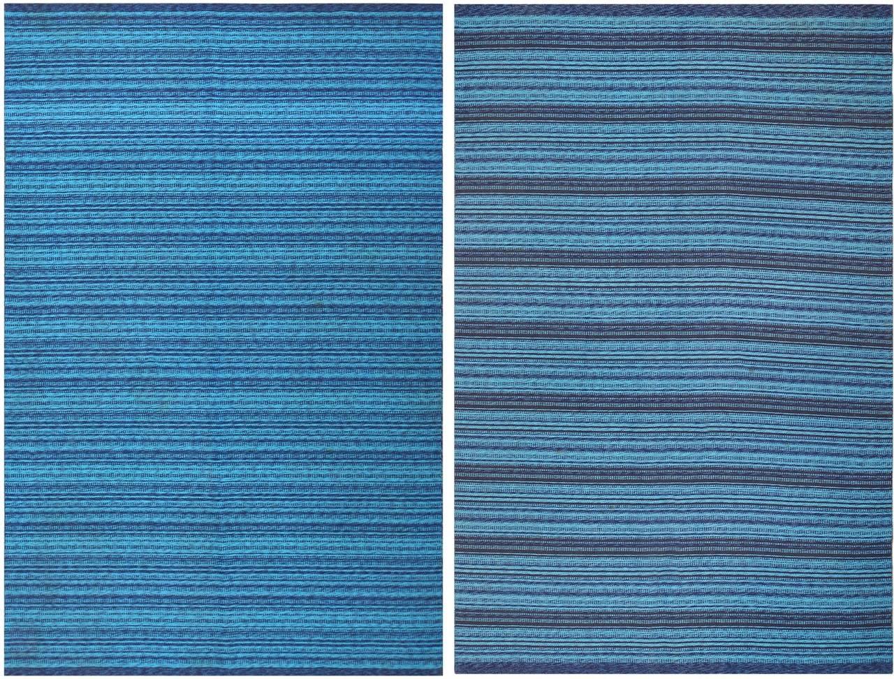 Vintage Double Sided Blue Swedish Kilim For Sale at 1stdibs