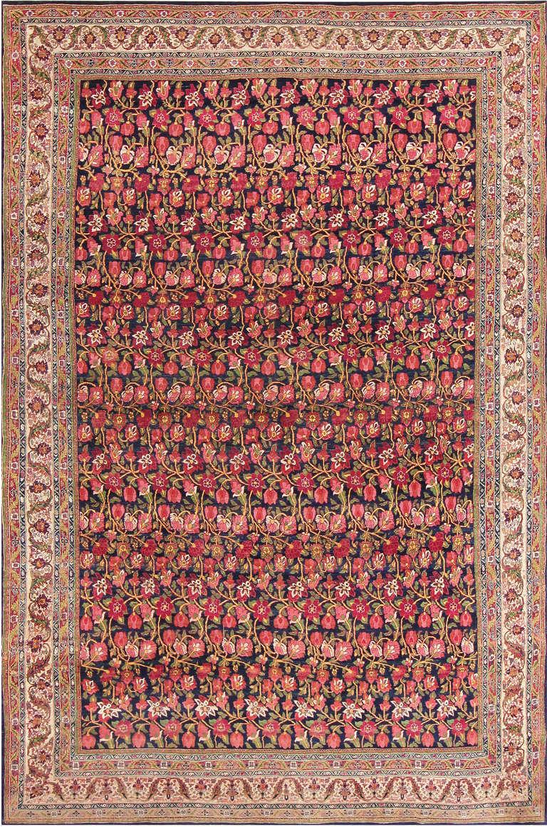 Antique Blue Background All Over Design Persian Bidjar