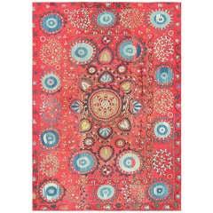 Antique Uzbek Suzani Embroidery Textile