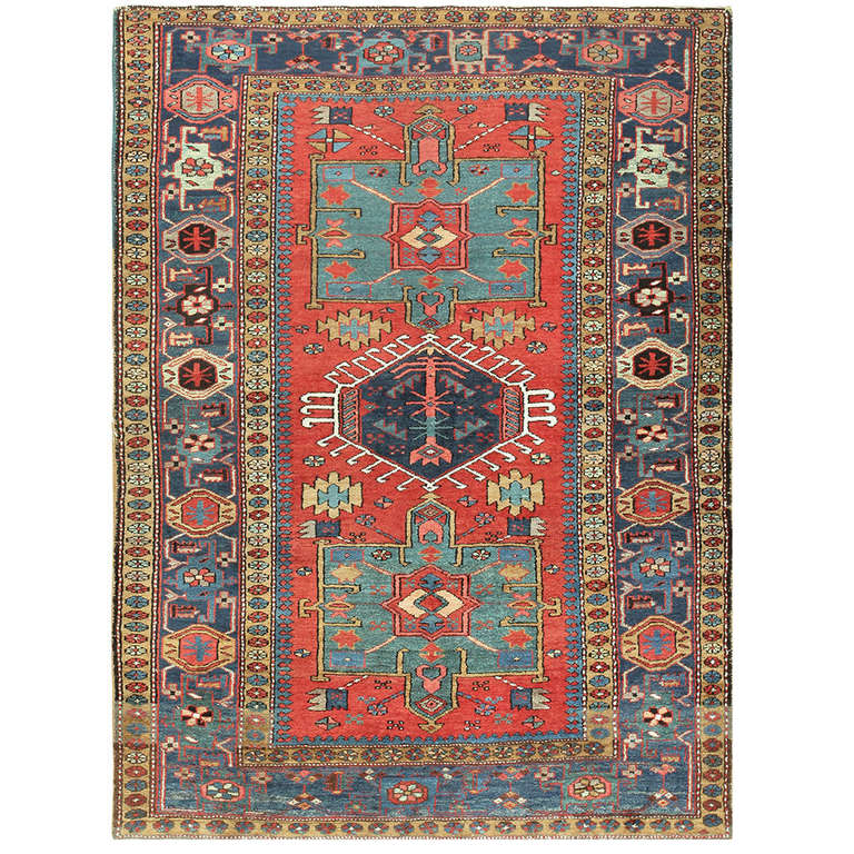 Small Antique Persian Heriz Scatter Rug At 1stdibs