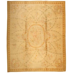 Large Floral Antique Savonnerie French Rug. Size: 14 ft x 17 ft