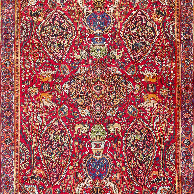 Antique Persian Khorassan Carpet With Animal Hunting Scene